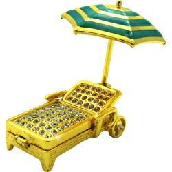 Objet d'Art 'Golden Chaise' Beach Chair & Umbrella Trinket Box