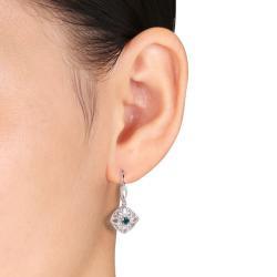 Miadora 10k White Gold 1/2ct TDW Blue and White Diamond Dangle Earrings (G-H, I2-I3)