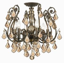 Crystorama Regis English Bronze 6-Light Semi-flush Fixture