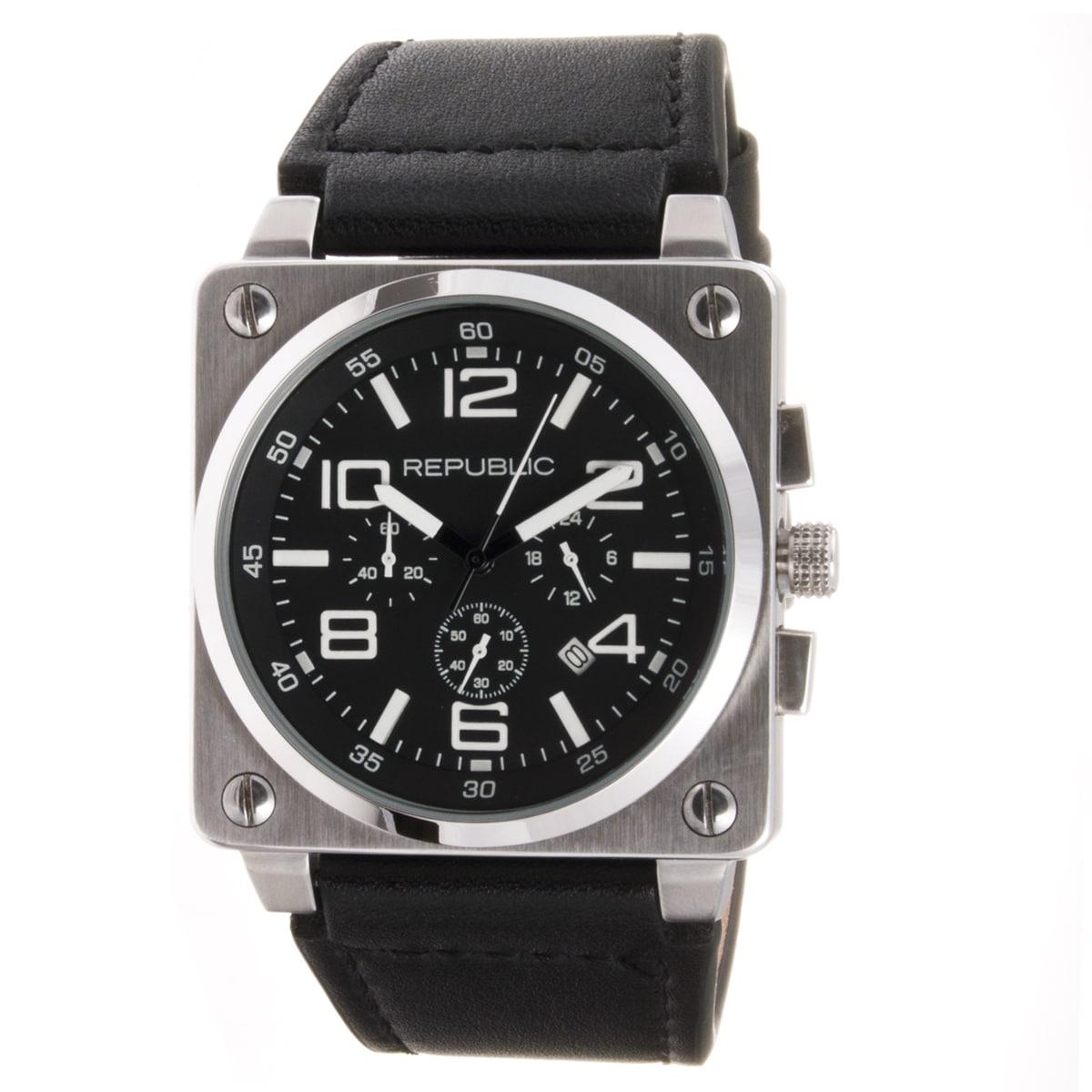 Republic Men's Black Leather Strap Chrono Aviation Watch
