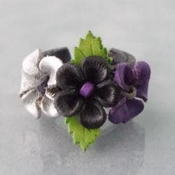 Black Floral Blossom Leather Ring (Thailand)