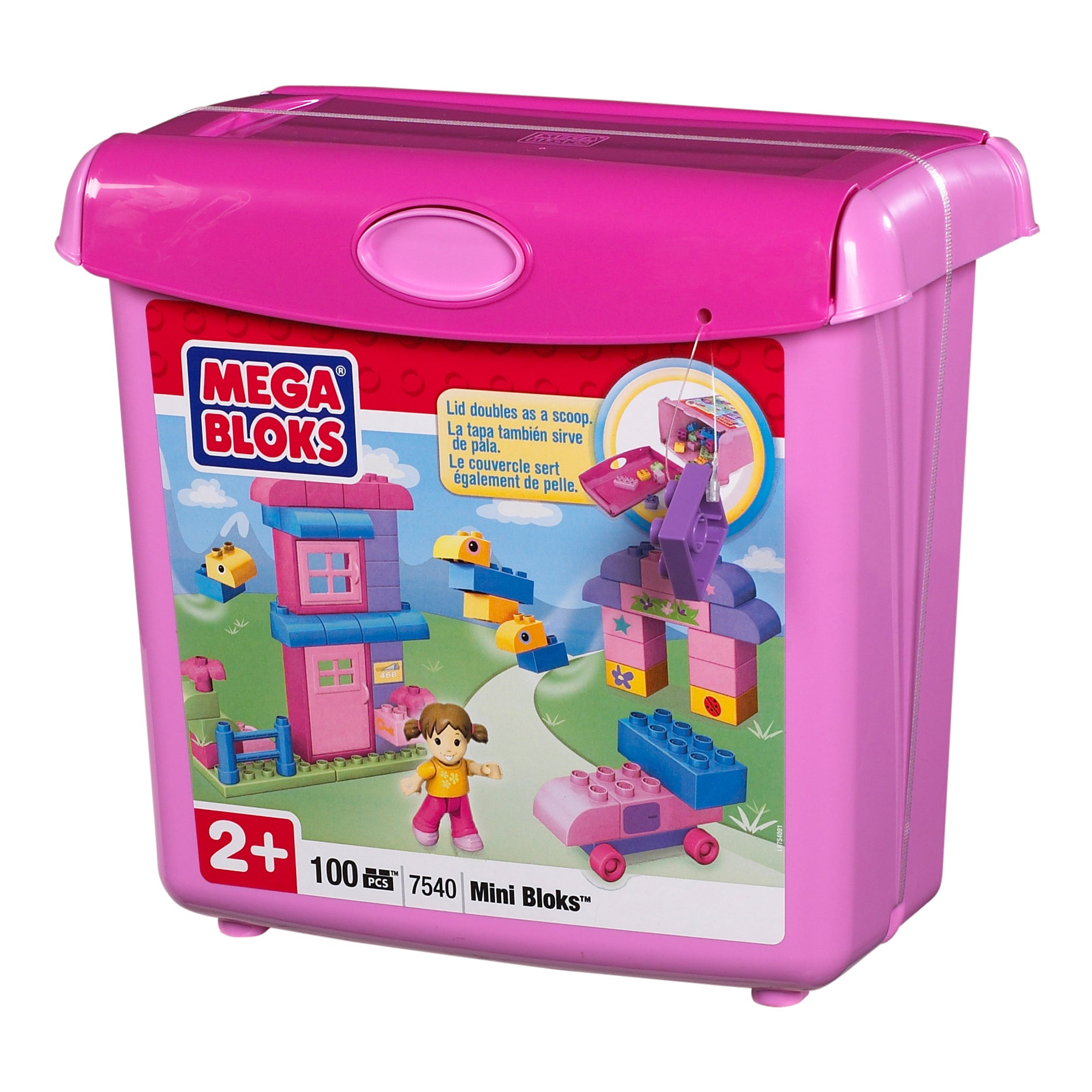 Mega Bloks Mini Scoop 'n Build Pink Bucket 100-piece Playset