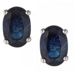 D'Yach 14k White Gold Ceylon Blue Sapphire Stud Earrings