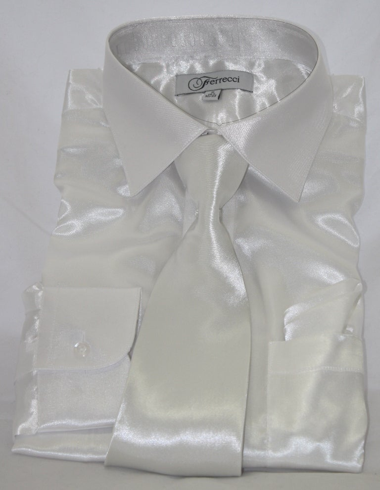 Overstock.com Ferrecci Men's Shinny Shirt with Tie and Hanky at mygofer.com