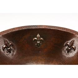 Oval Fleur De Lis Under Counter Hammered Copper Sink