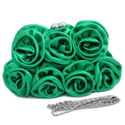 Dasein Rosette Accented Satin Evening Bag