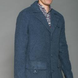Cloth Logic Men's Navy Long Wool-blend Jacket