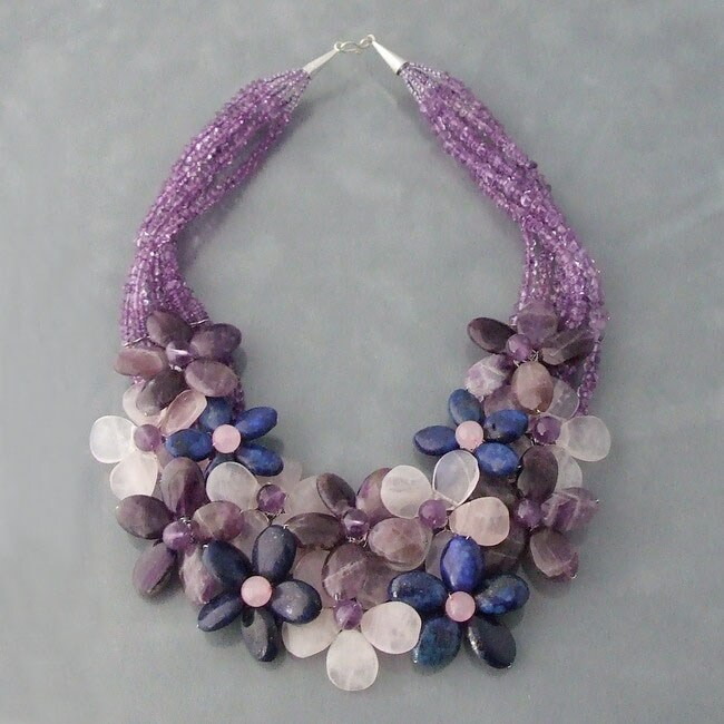 Sterling Silver Quartz, Amethyst and Lapis Floral Necklace (Thailand)