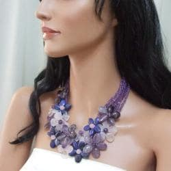 Sterling Silver Quartz, Amethyst and Lapis Floral Necklace (Thailand)
