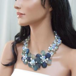 Sterling Silver Blue Agate and Pearl Triple Floral Grace Necklace (Thailand)