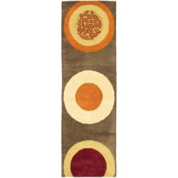 Handmade Soho Brown/ Multi New Zealand Wool Rug (2'6 x 12')