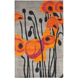 Handmade Elegance Grey/ Orange New Zealand Wool Rug (3'6 x 5'6')