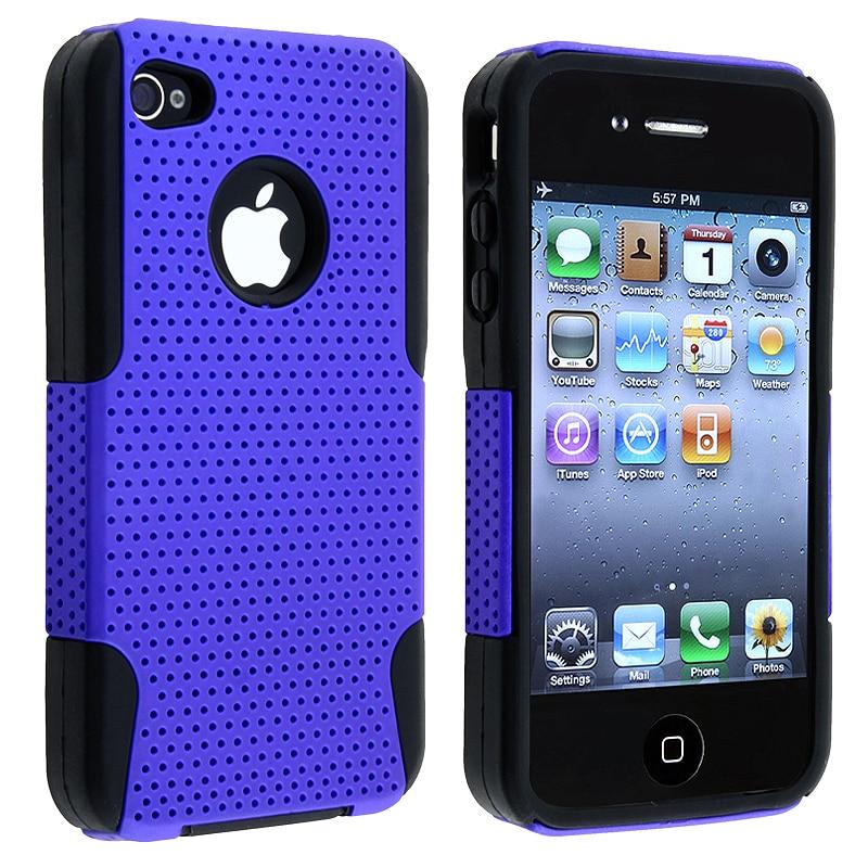 Black Skin/ Blue Mesh Hybrid Case for Apple iPhone 4/ 4S