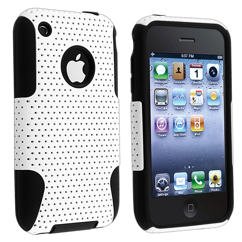Black Skin/ White Mesh Hybrid Case for Apple iPhone 3G/ 3GS