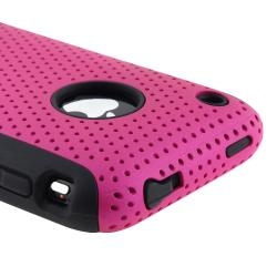 Black Skin/ Hot Pink Mesh Hybrid Case for Apple iPhone 3G/ 3GS