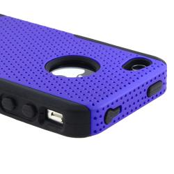 Black Skin/ Blue Mesh Hybrid Case for Apple iPhone 4/ 4S