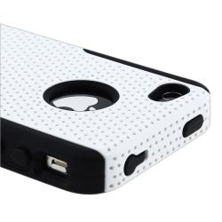 Black Skin/ White Mesh Hybrid Case for Apple iPhone 4/ 4S