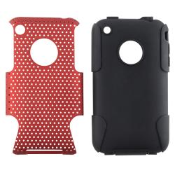 Black Skin/ Red Mesh Hybrid Case for Apple iPhone 3G/ 3GS