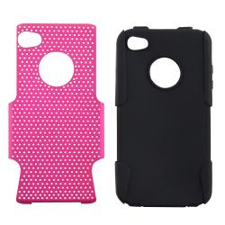 Black Skin/ Hot Pink Mesh Hybrid Case for Apple iPhone 4/ 4S