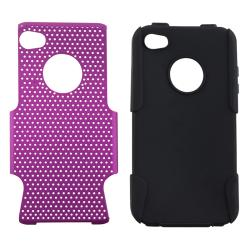 Black Skin/ Purple Mesh Hybrid Case for Apple iPhone 4/ 4S