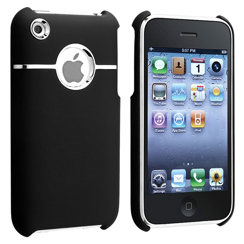 Black/ Chrome Hole Snap-on Rubber Coated Case for Apple iPhone 3G/ 3GS