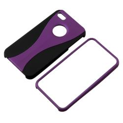 Purple/ Black Cup-shape Snap-on Rubber Coated Case for Apple iPhone 4