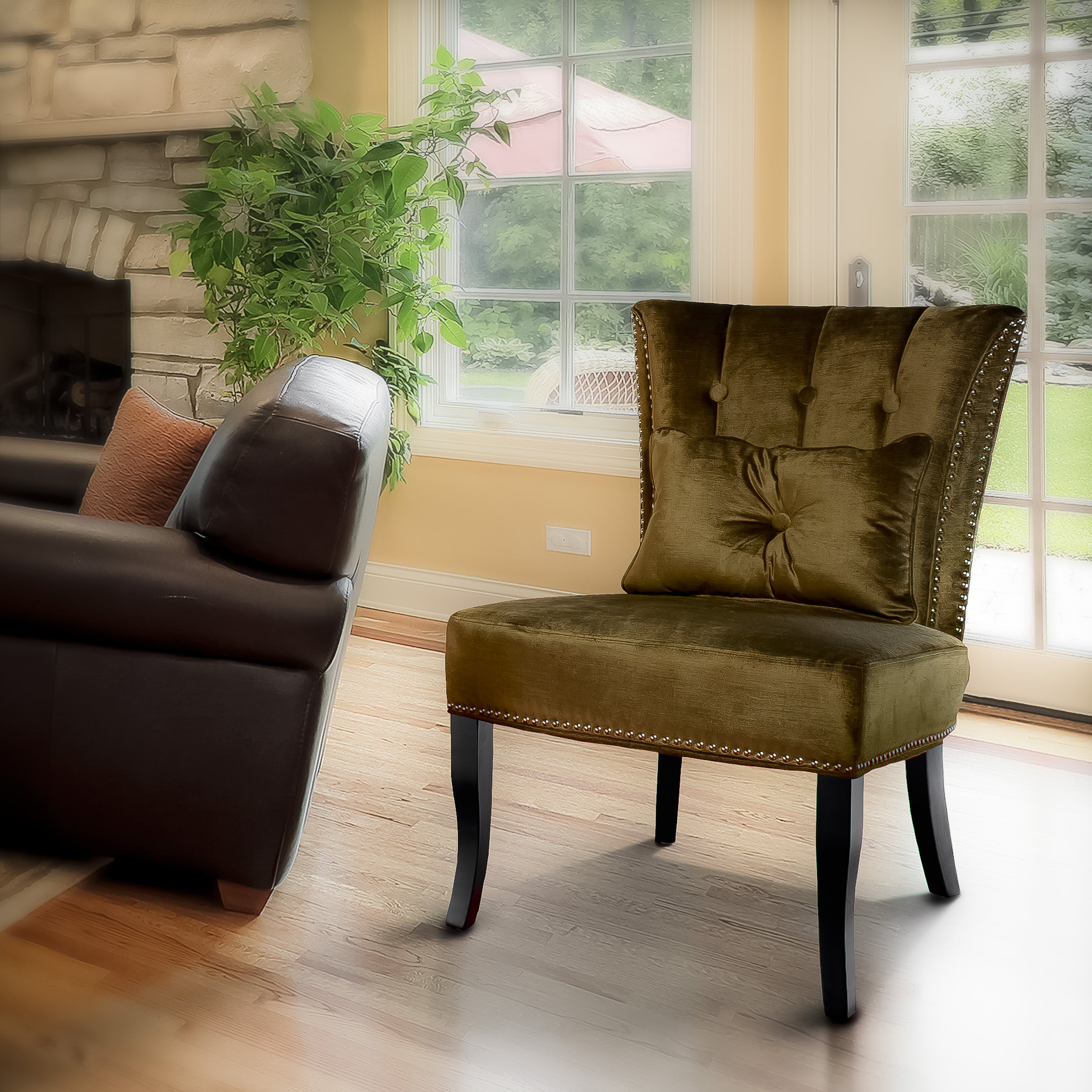 olive green velvet accent chair 14011154 overstock com