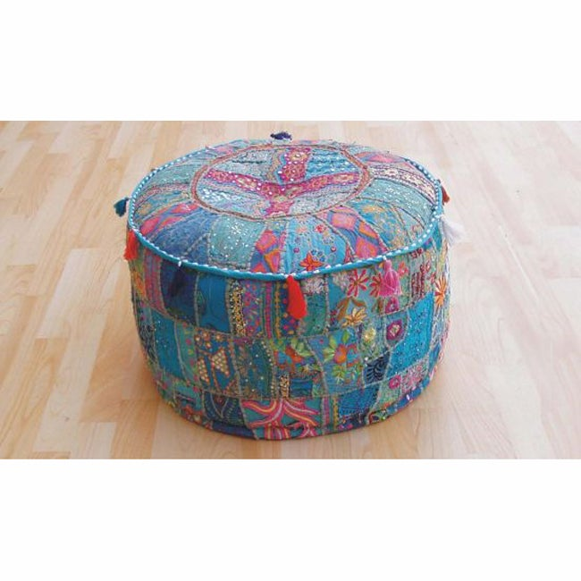 nuLOOM Handmade Casual Living Indian Round Ottoman Pouf