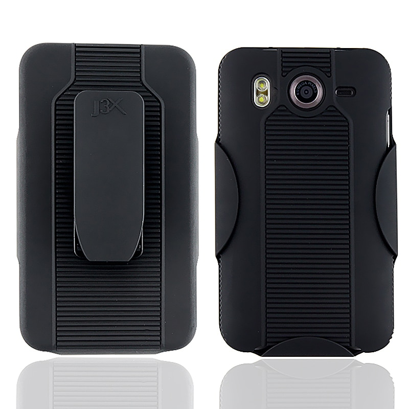 Black Rubber-coated Case/ Holster Combo for HTC Inspire 4G/ Desire HD