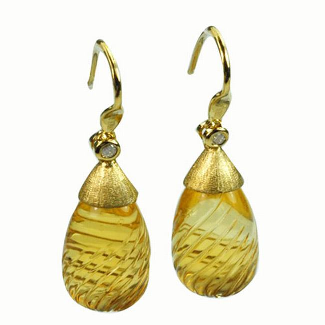 De Buman 18k Yellow Gold Citrine and Diamond Earrings