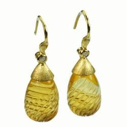 De Buman 18k Yellow Gold Citrine and Diamond Earrings