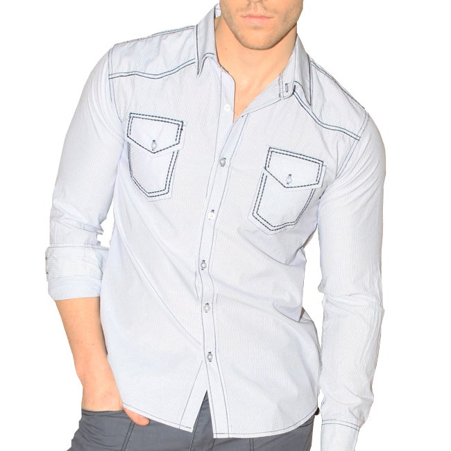 191 Unlimited Men's Blue Heavy Embroidery Slim Fit Shirt