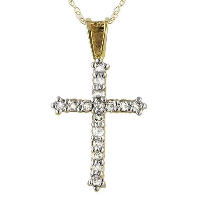 10k Yellow Gold 1/4ct TDW Diamond Cross Necklace (I, I3)