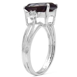 Malaika Sterling Silver Smokey Topaz and White Topaz Ring (3 1/5ct TGW)