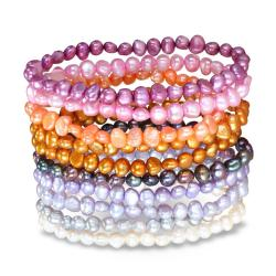 Miadora Multi-colored FW Potato Pearl 10-piece Elastic Bracelet Set (5-6 mm)