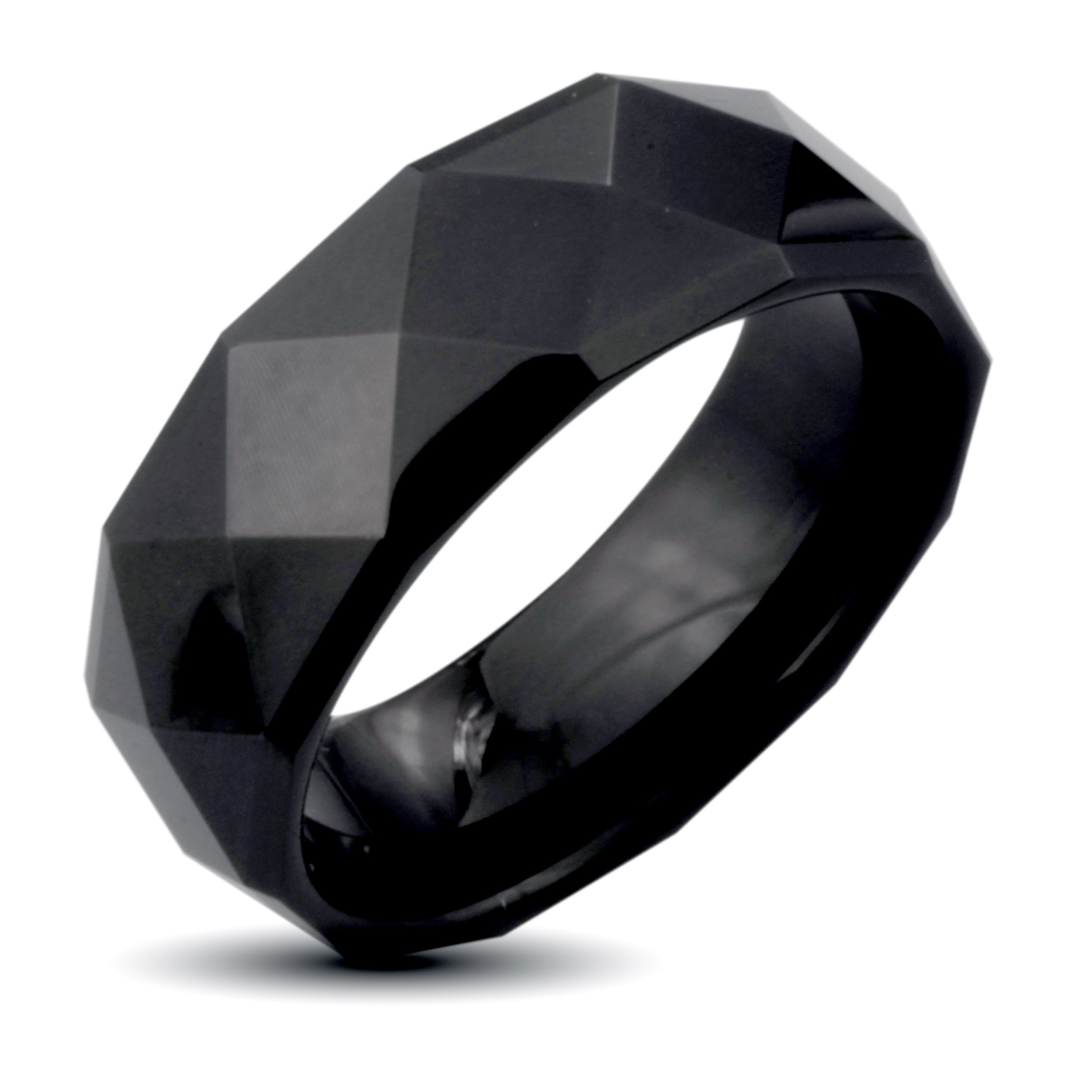 Eziba Collection Men's Black Tungsten Carbide Faceted Ridged Edge Ring (8 mm) at Sears.com