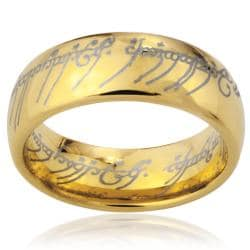 West Coast Jewelry Men's Goldplated Tungsten Carbide 'The One' Elvish Script Ring (8 mm)