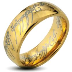 Men's Goldplated Tungsten Carbide 'The One' Elvish Script Ring (8 mm)