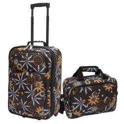 U.S. Traveler Chocolate Flower Fashion 2-piece Carry-on Luggage Set