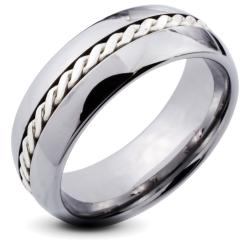 Tungsten Carbide Men's Silver Rope Inlay Beveled Edge Ring