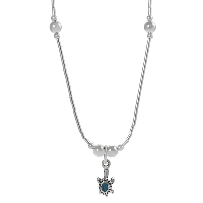 Tressa Sterling Silver Children's Created Turquoise Inlay Turtle Necklace