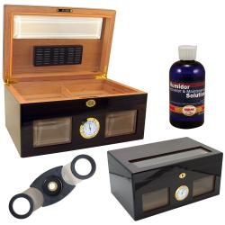 Cuban Crafters Bravo Negro Glass Humidor Set