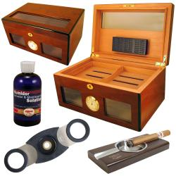Cuban Crafters Bravo Dos Glass Humidor Set with Ashtray