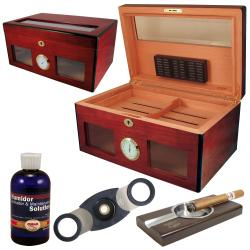 Cuban Crafters Bravo Glass Humidor Set with Ashtray
