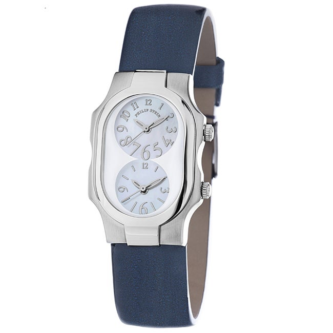 Eziba Collection Philip Stein Women's 'Signature' Blue Leather Strap Dual Time Watch at Sears.com