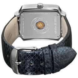 Philip Stein Women's Classic Metalic Navy Leather Strap Watch