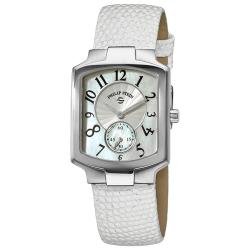 Philip Stein Women's 'Classic Tank' Glitter White Leather Strap Watch