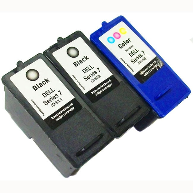 Dell Series 7 CH883, CH884 Black/ Tri-color Ink Cartridges (Remanufactured) (Pack of 3)