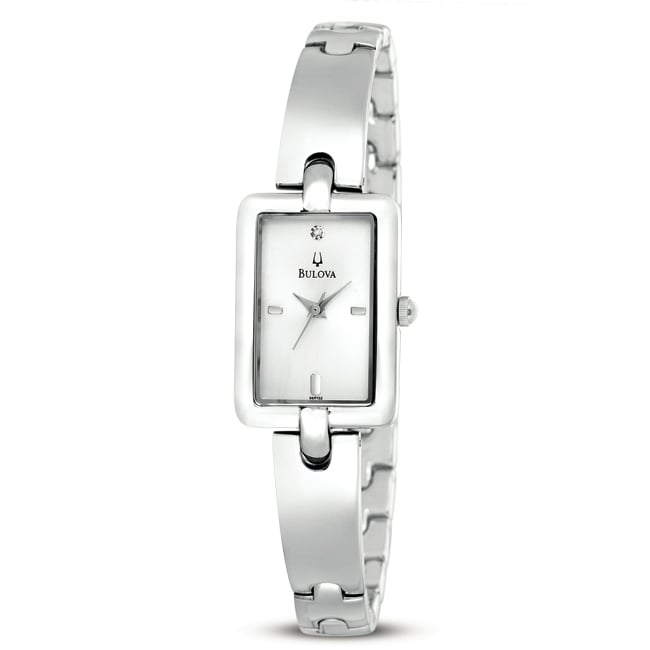 Bulova Women's Stainless Steel Rectangle Bangle Link Watch