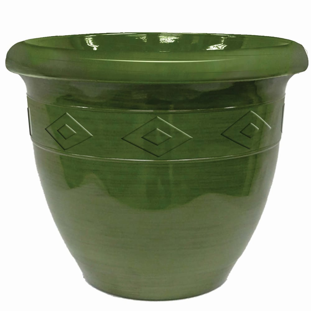 Garden Odyssey 20-inch Green Glazed Double Rim Brush Stroke Planter